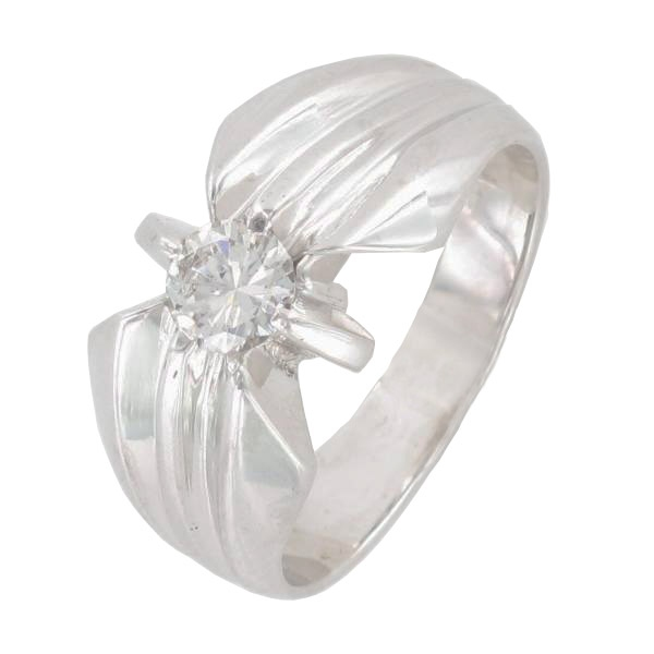 Bague Solitaire Or Blanc Diamant Taille Moderne 0 50 Carat