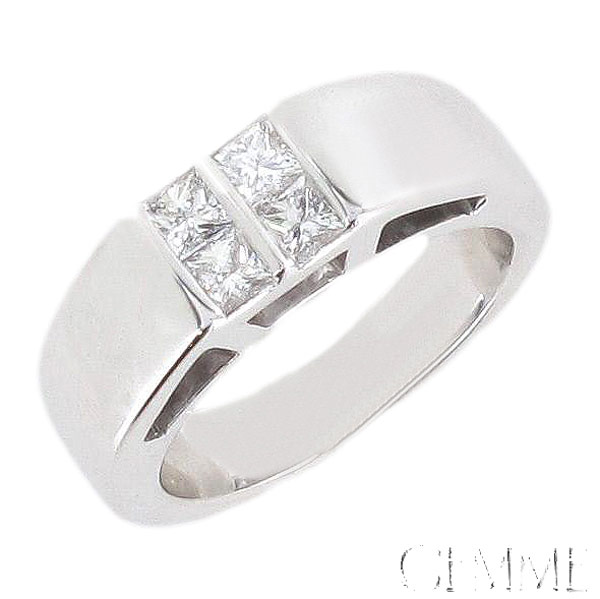 Bague Or Blanc Hommes Solitaire Diamant Homme Moderne