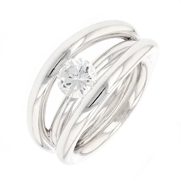 Bague solitaire contemporaine diamant 1.17 carat en or blanc