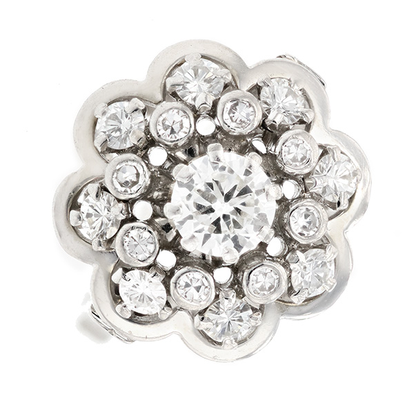 Bague fleur diamants 1.15 carat en or blanc