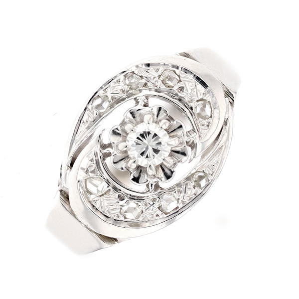 Bague tourbillon diamants 0.12 carat en or blanc