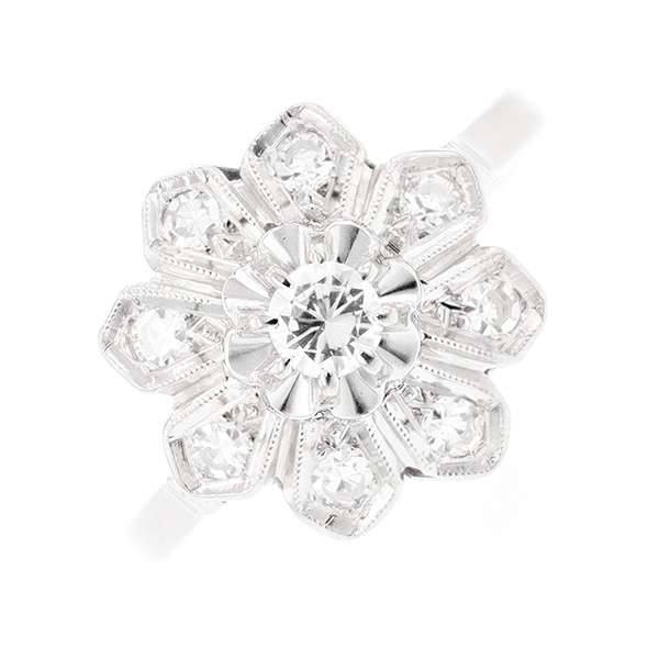 Bague fleur vintage diamants 0.42 carat en or blanc