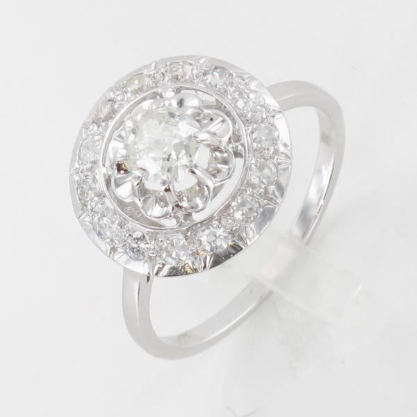 Exceptionnel Bague ancienne rosace or blanc platine diamant vers1920 OE35
