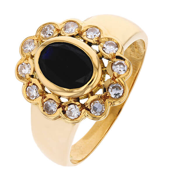bague marguerite saphir 1 30 carat et diamants 0 36 carat. Black Bedroom Furniture Sets. Home Design Ideas