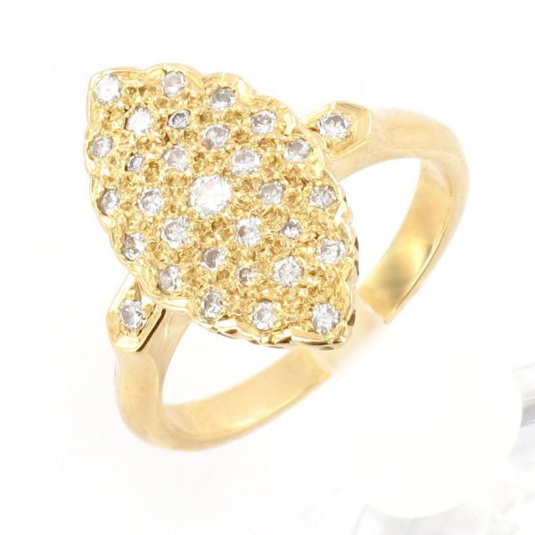 bague or jaune diamants forme marquise