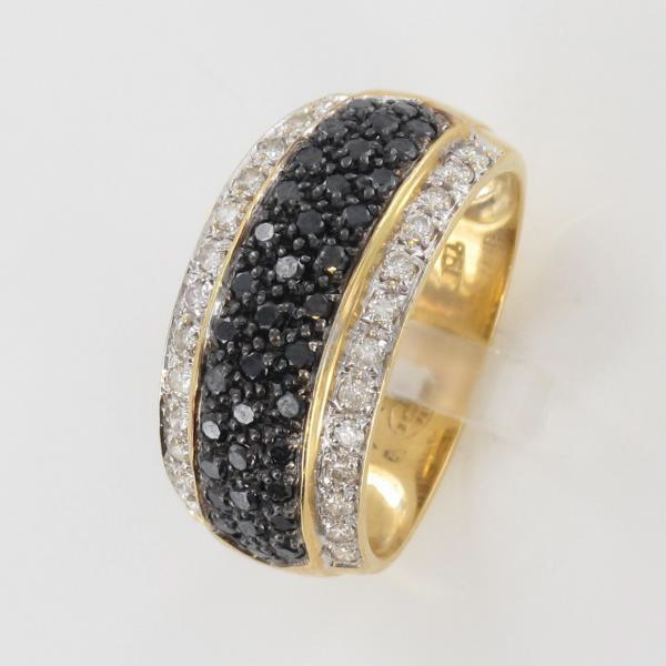 Favori Bague or jaune diamant blanc, diamant noir HU66