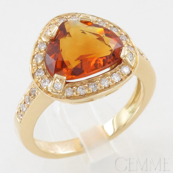 Bague Or Jaune Citrine Mad�re & Diamant