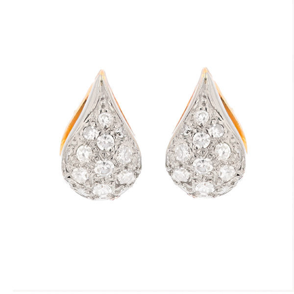 Boucles d'oreilles diamants 0.72 carat en or bicolore