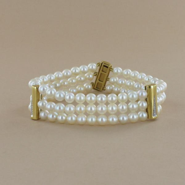 bracelet perle de culture 3 rangs
