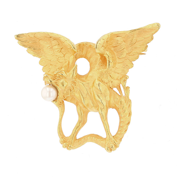 Broche chimère perle de culture blanche en or jaune