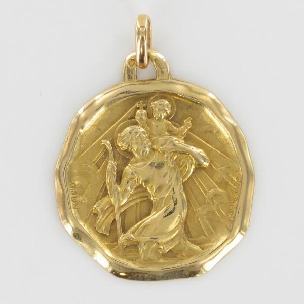 AUGIS. M�daille Religieuse Saint Christophe Or Jaune.