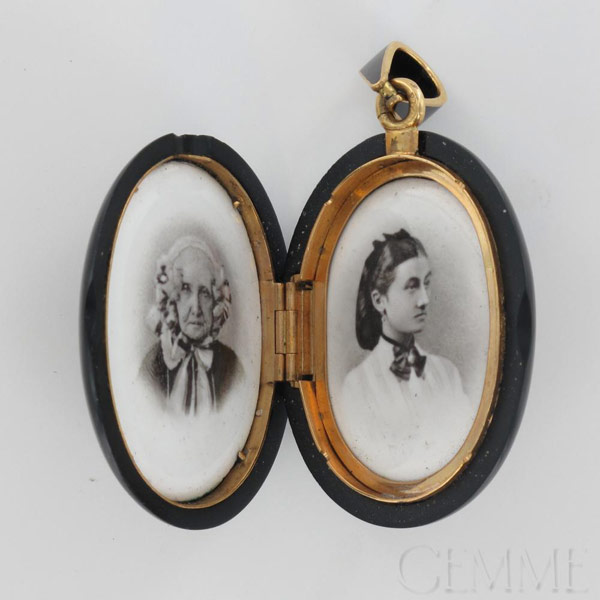 pendentif porte photo ancien or jaune onyx diamant