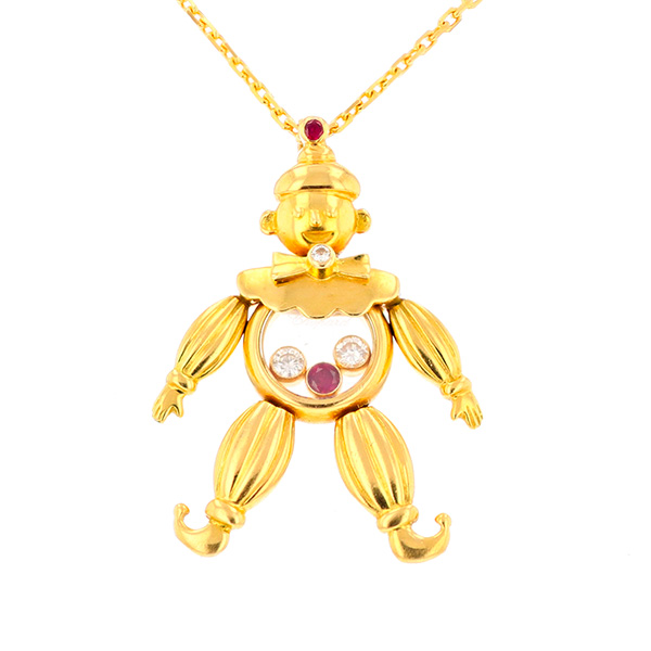 Pendentif signé CHOPARD collection HAPPY CLOWN rubis et diamants en or jaune