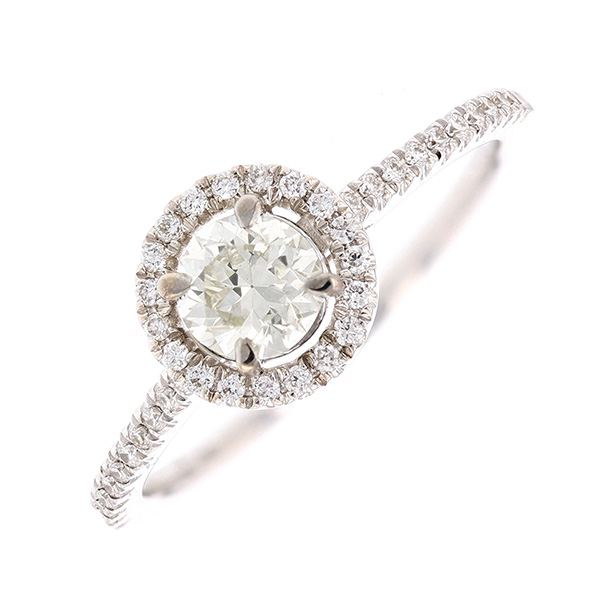 Bague solitaire diamants 0.42 carat en or blanc