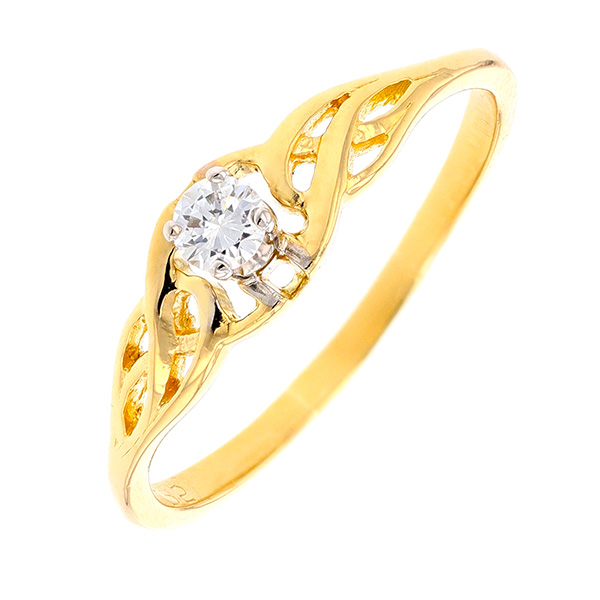 Solitaire diamant 0.15 carat en or jaune